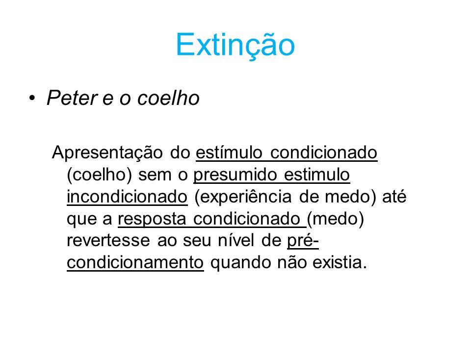 Extinção Peter e o coelho Apresentação do estímulo condicionado (coelho) sem o presumido estimulo incondicionado (experiência de medo) até que a respo