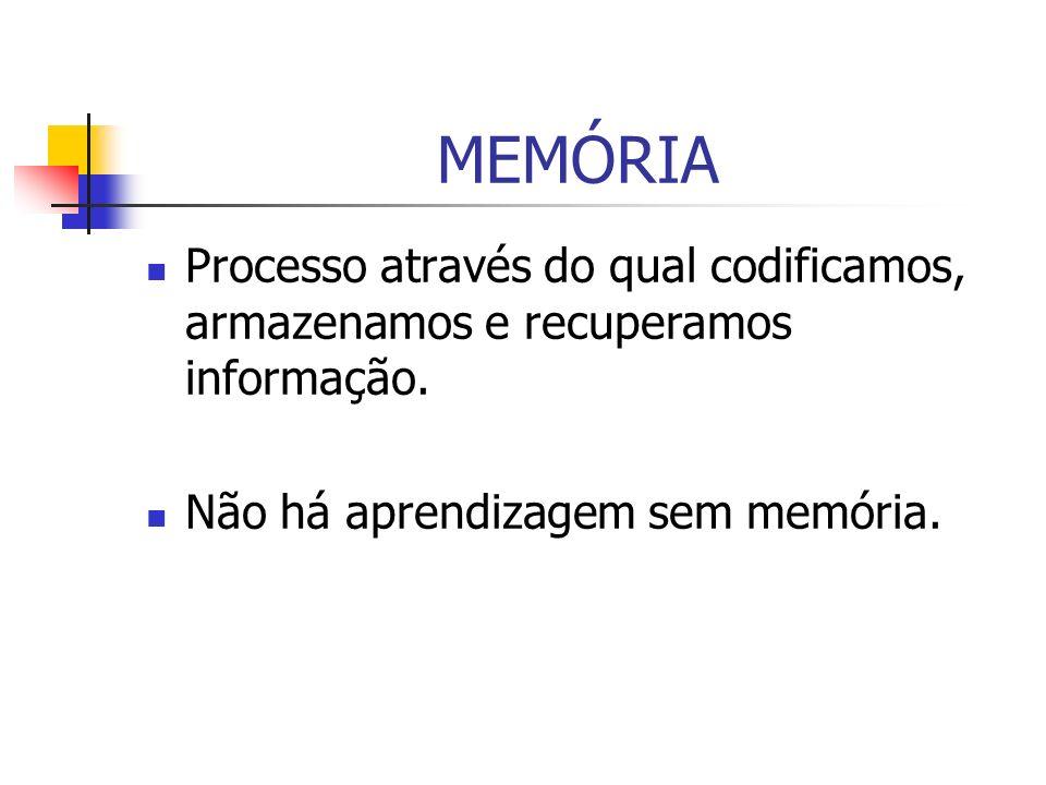 Codificação, armazenamento e recuperação da MEMÓRIA Existem duas tendências teóricas: 1.