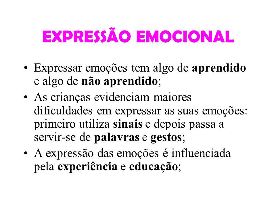 EXPRESSÃO EMOCIONAL Expressar emoções tem algo de aprendido e algo de não aprendido; As crianças evidenciam maiores dificuldades em expressar as suas