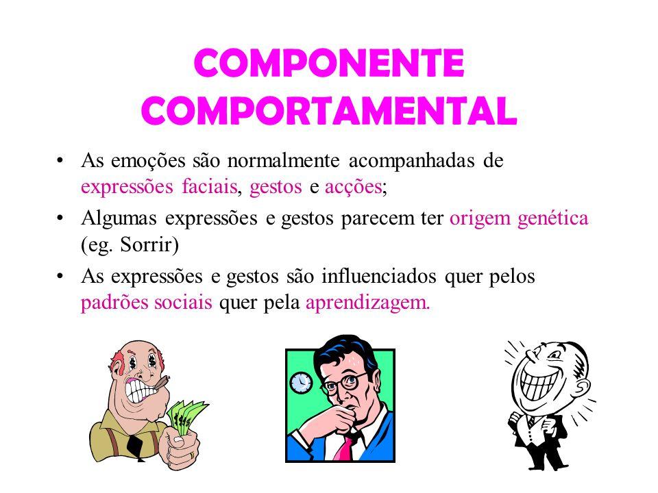 COMPONENTE COMPORTAMENTAL As emoções são normalmente acompanhadas de expressões faciais, gestos e acções; Algumas expressões e gestos parecem ter orig