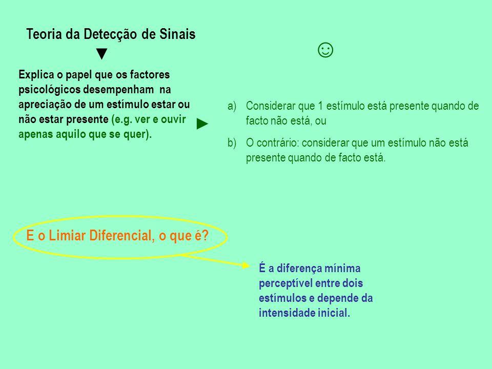 BASES FISIOLÓGICAS DA PERCEPÇÃO A percepção depende de dois tipos de sistemas Dos sistemas sensoriais (ou de captação de informação) Do sistema nervoso (cérebro) i)Detecta a informação (DETECÇÃO); ii)Faz a tradução (receptores), converte dados em impulsos nervosos (TRANSDUÇÃO ou CONVERSÃO); iii)Processa a informação e envia a sua maioria para o cérebro (PROCESSAMENTO E TRANSMISSÂO da informação).