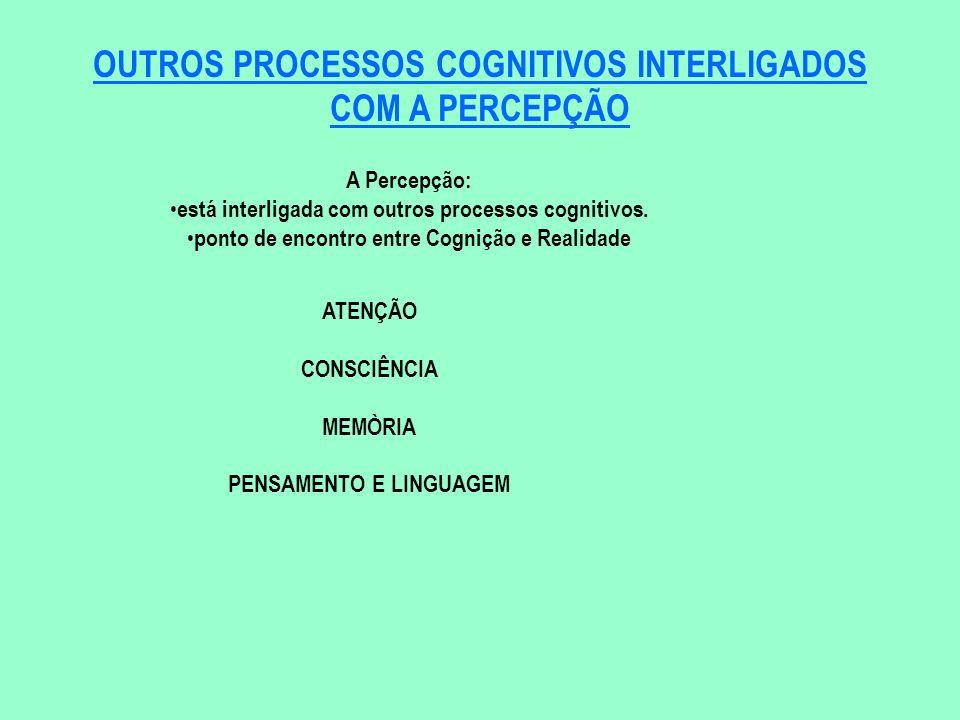 OUTROS PROCESSOS COGNITIVOS INTERLIGADOS COM A PERCEPÇÃO A Percepção: está interligada com outros processos cognitivos. ponto de encontro entre Cogniç
