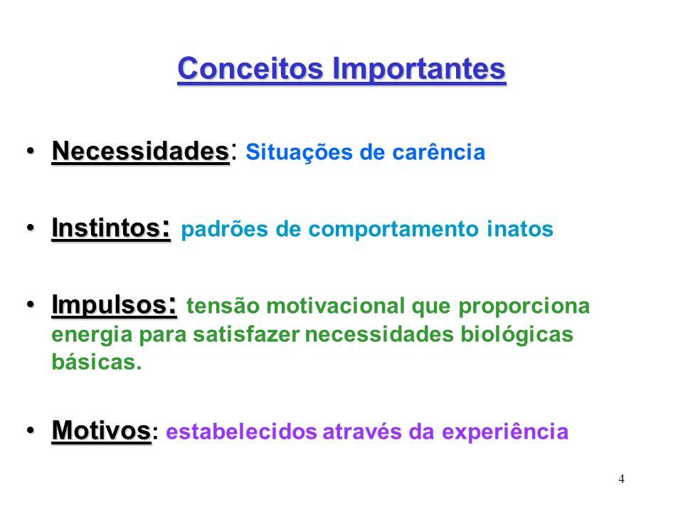 4 Conceitos Importantes NecessidadesNecessidades : Situações de carência Instintos :Instintos : padrões de comportamento inatos Impulsos :Impulsos : t