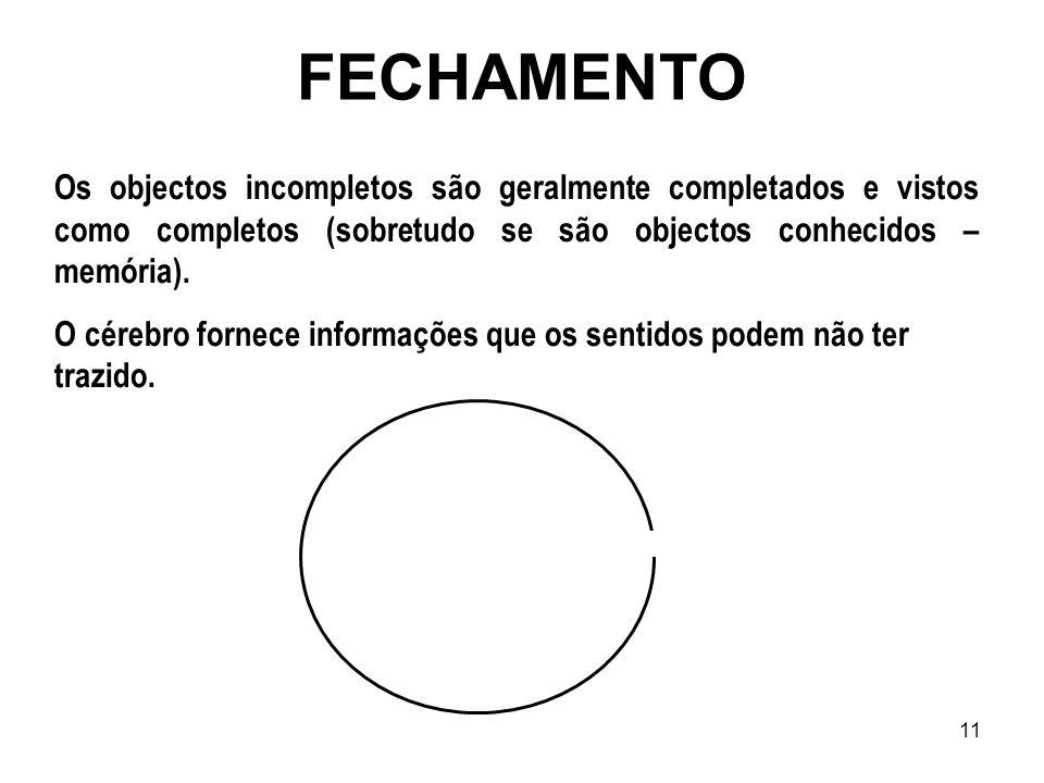 11 FECHAMENTO Os objectos incompletos são geralmente completados e vistos como completos (sobretudo se são objectos conhecidos – memória). O cérebro f