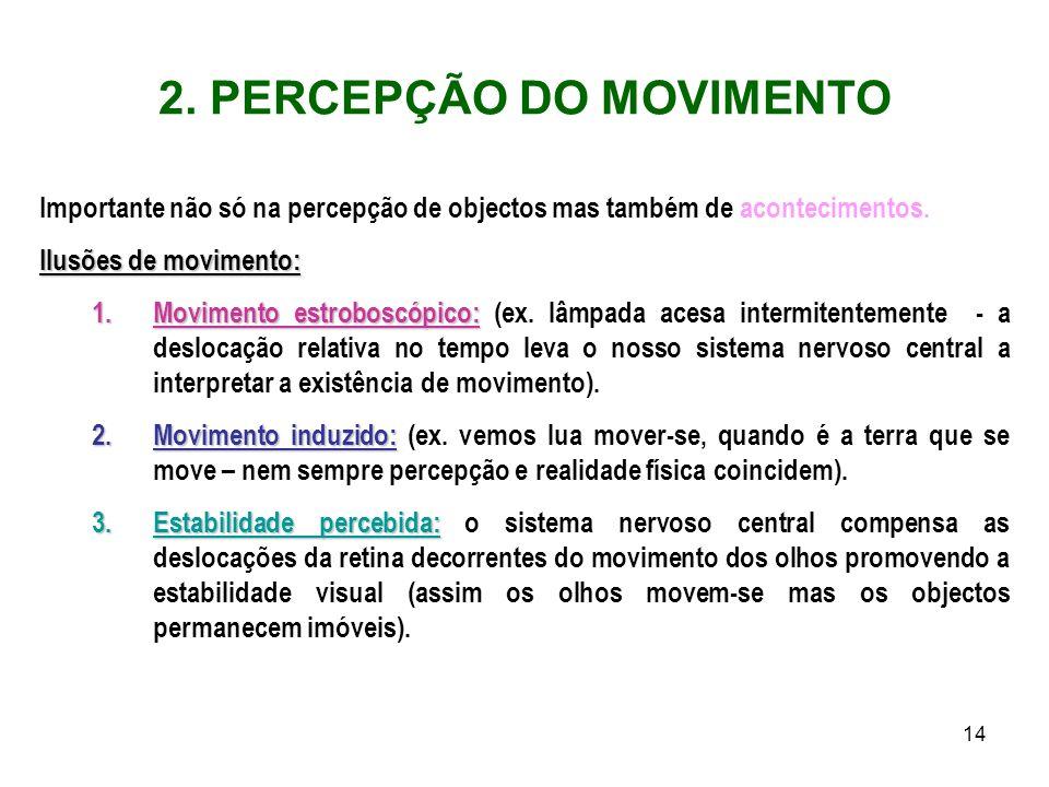 14 2. PERCEPÇÃO DO MOVIMENTO Importante não só na percepção de objectos mas também de acontecimentos. Ilusões de movimento: 1.Movimento estroboscópico