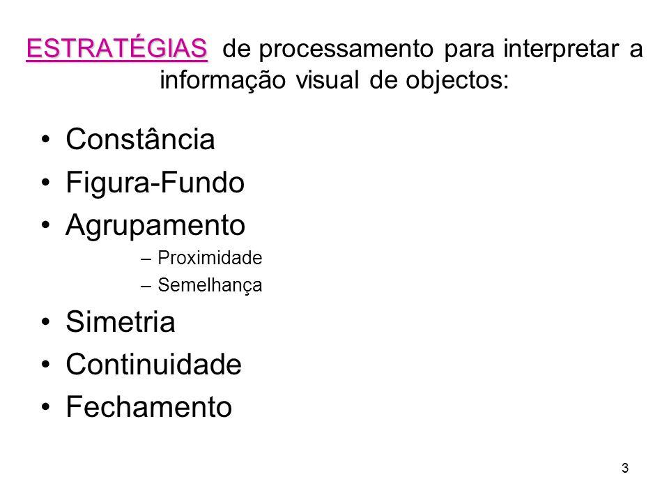 3 ESTRATÉGIAS ESTRATÉGIAS de processamento para interpretar a informação visual de objectos: Constância Figura-Fundo Agrupamento –Proximidade –Semelha