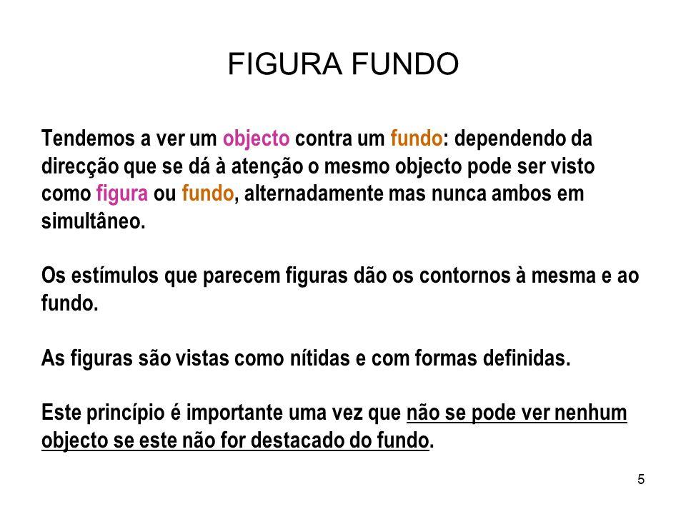 5 FIGURA FUNDO Tendemos a ver um objecto contra um fundo: dependendo da direcção que se dá à atenção o mesmo objecto pode ser visto como figura ou fun