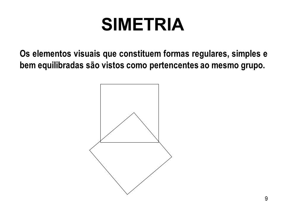 9 SIMETRIA Os elementos visuais que constituem formas regulares, simples e bem equilibradas são vistos como pertencentes ao mesmo grupo.