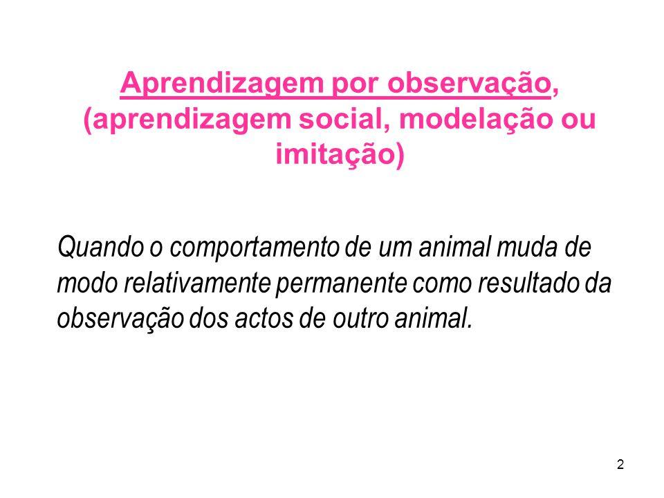 2 Aprendizagem por observação, (aprendizagem social, modelação ou imitação) Quando o comportamento de um animal muda de modo relativamente permanente