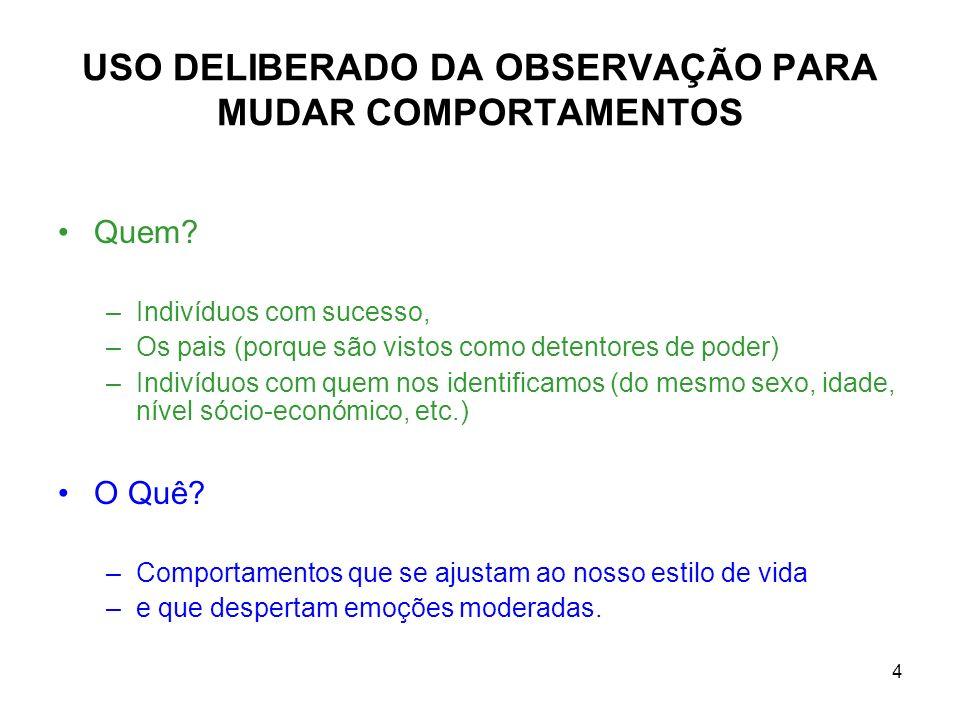 5 MODIFICAÇÃO DO COMPORTAMENTO 1.Identificação de objectivos e comportamentos alvo.