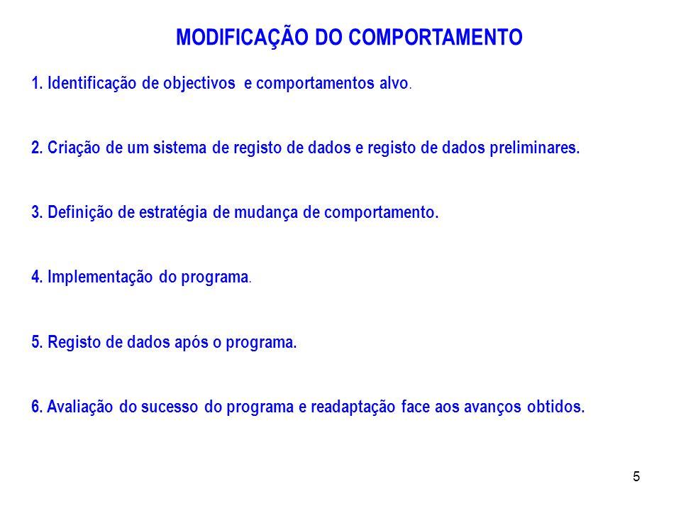 5 MODIFICAÇÃO DO COMPORTAMENTO 1. Identificação de objectivos e comportamentos alvo. 2. Criação de um sistema de registo de dados e registo de dados p