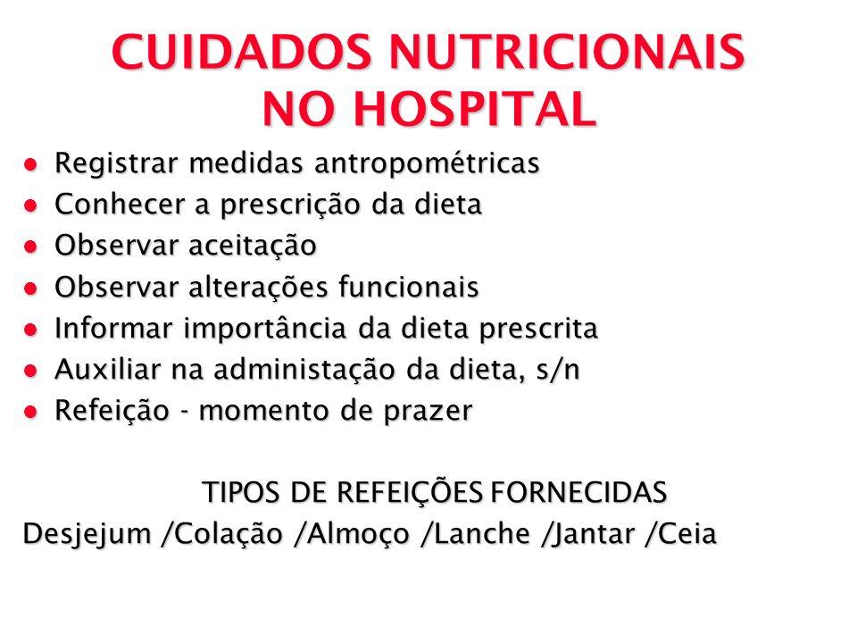 CUIDADOS NUTRICIONAIS NO HOSPITAL l Registrar medidas antropométricas l Conhecer a prescrição da dieta l Observar aceitação l Observar alterações func
