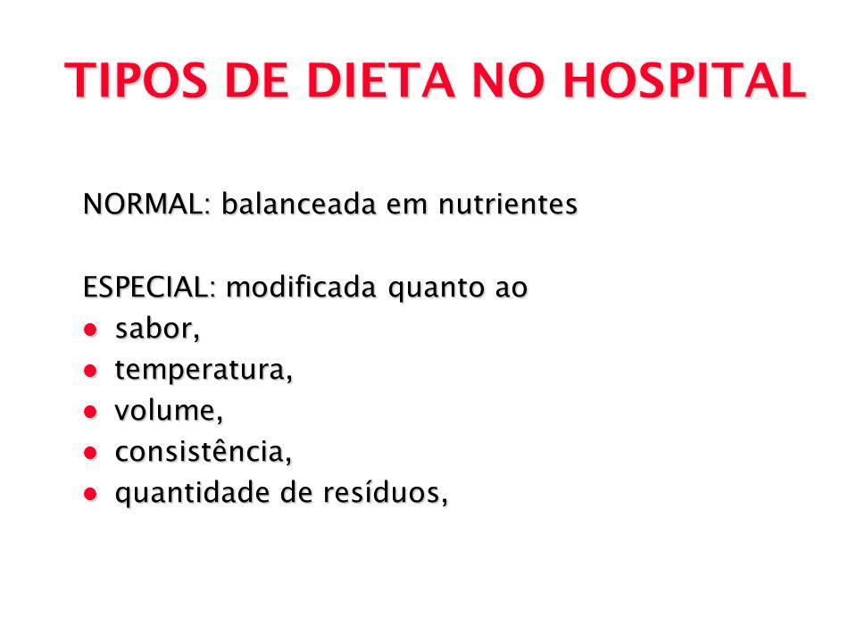 TIPOS DE DIETA NO HOSPITAL NORMAL: balanceada em nutrientes ESPECIAL: modificada quanto ao l sabor, l temperatura, l volume, l consistência, l quantid