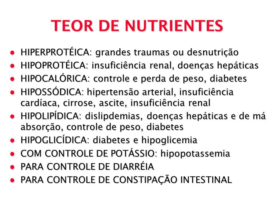 TEOR DE NUTRIENTES l HIPERPROTÉICA: grandes traumas ou desnutrição l HIPOPROTÉICA: insuficiência renal, doenças hepáticas l HIPOCALÓRICA: controle e p