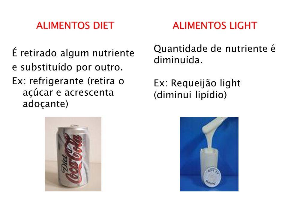 ALIMENTOS DIET É retirado algum nutriente e substituído por outro. Ex: refrigerante (retira o açúcar e acrescenta adoçante) ALIMENTOS LIGHT Quantidade