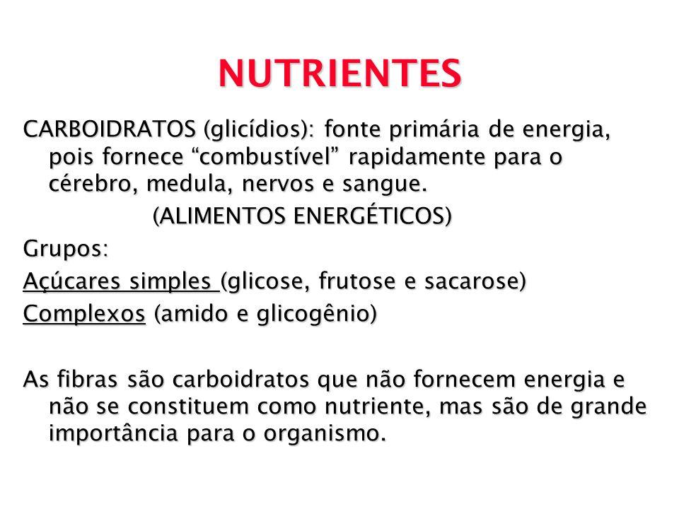 NUTRIENTES CARBOIDRATOS (glicídios): fonte primária de energia, pois fornece combustível rapidamente para o cérebro, medula, nervos e sangue. (ALIMENT