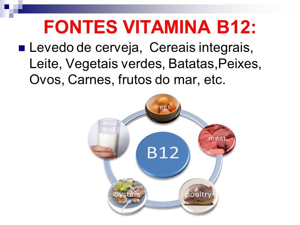 FONTES VITAMINA B12: Levedo de cerveja, Cereais integrais, Leite, Vegetais verdes, Batatas,Peixes, Ovos, Carnes, frutos do mar, etc.