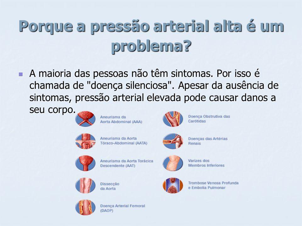 Porque a pressão arterial alta é um problema? A maioria das pessoas não têm sintomas. Por isso é chamada de