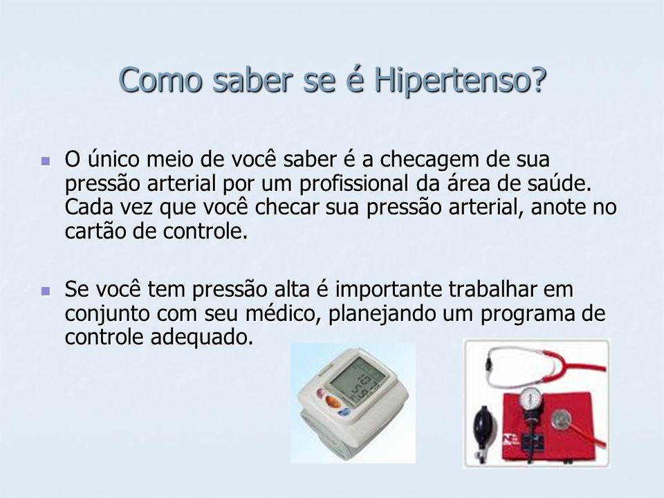 Como saber se é Hipertenso? O único meio de você saber é a checagem de sua pressão arterial por um profissional da área de saúde. Cada vez que você ch