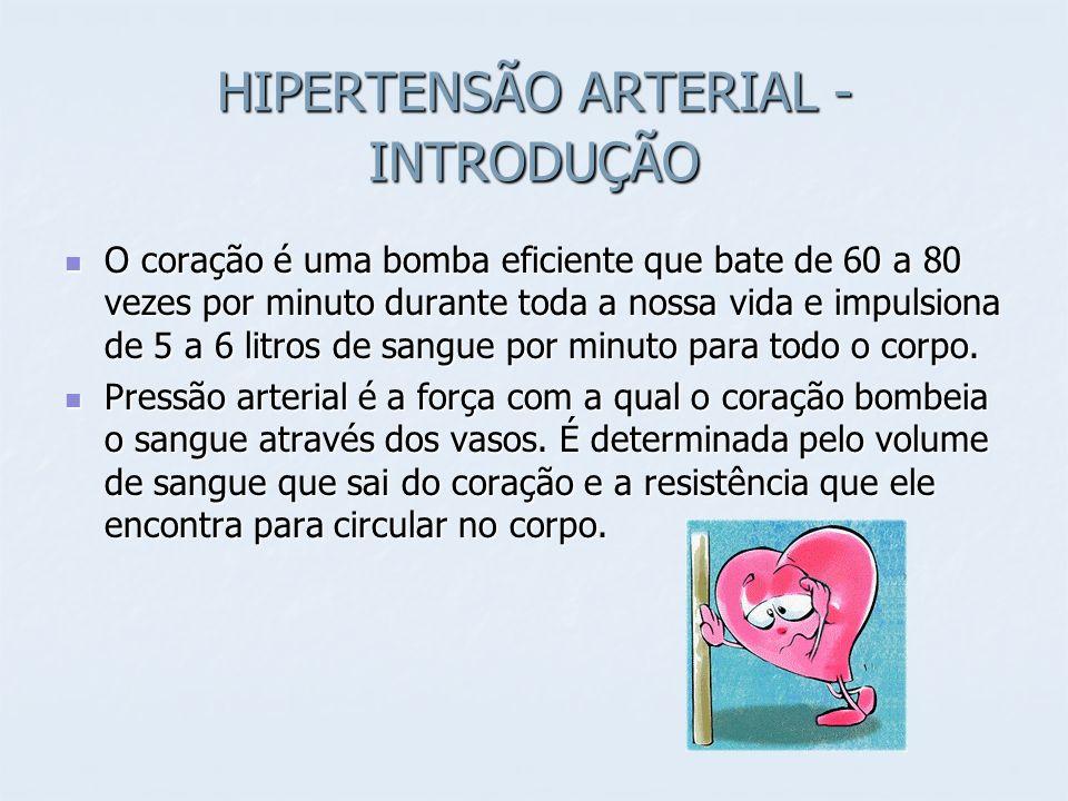 HIPERTENSÃO ARTERIAL - INTRODUÇÃO O coração é uma bomba eficiente que bate de 60 a 80 vezes por minuto durante toda a nossa vida e impulsiona de 5 a 6