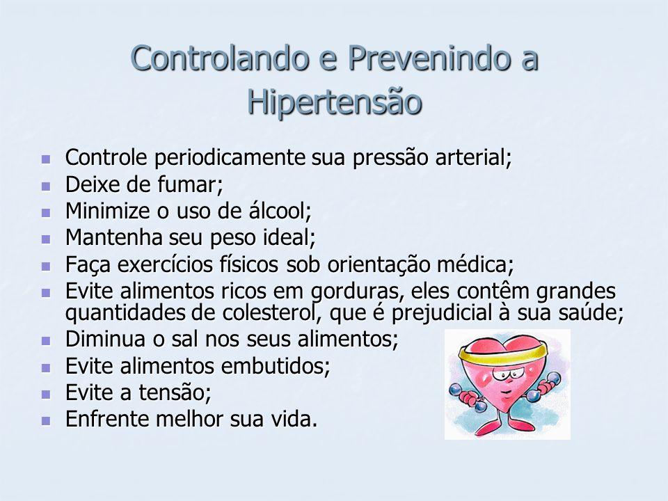 Controlando e Prevenindo a Hipertensão Controle periodicamente sua pressão arterial; Controle periodicamente sua pressão arterial; Deixe de fumar; Dei