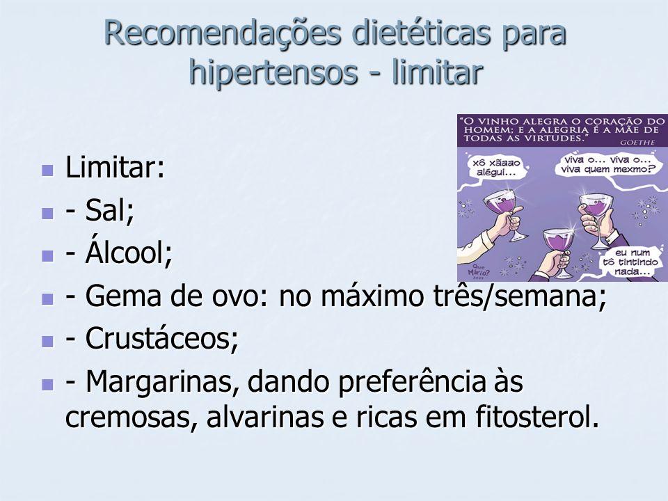 Recomendações dietéticas para hipertensos - limitar Limitar: Limitar: - Sal; - Sal; - Álcool; - Álcool; - Gema de ovo: no máximo três/semana; - Gema d