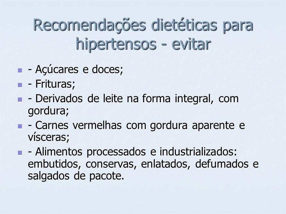 Recomendações dietéticas para hipertensos - evitar - Açúcares e doces; - Açúcares e doces; - Frituras; - Frituras; - Derivados de leite na forma integ