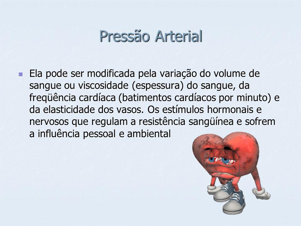 Pressão Arterial Ela pode ser modificada pela variação do volume de sangue ou viscosidade (espessura) do sangue, da freqüência cardíaca (batimentos ca