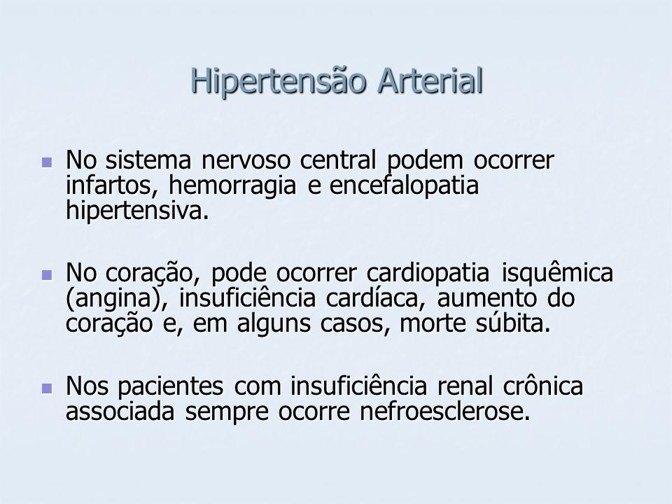 Hipertensão Arterial No sistema nervoso central podem ocorrer infartos, hemorragia e encefalopatia hipertensiva. No sistema nervoso central podem ocor