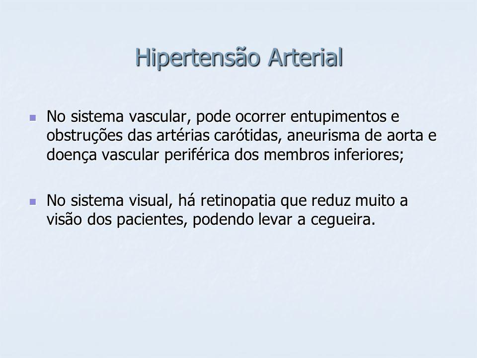 Hipertensão Arterial No sistema vascular, pode ocorrer entupimentos e obstruções das artérias carótidas, aneurisma de aorta e doença vascular periféri