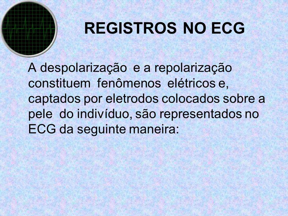 REGISTROS NO ECG A despolarização e a repolarização constituem fenômenos elétricos e, captados por eletrodos colocados sobre a pele do indivíduo, são