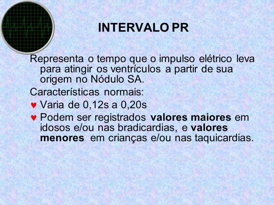 INTERVALO PR Representa o tempo que o impulso elétrico leva para atingir os ventrículos a partir de sua origem no Nódulo SA. Características normais: