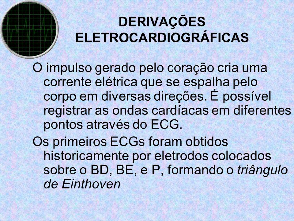 DERIVAÇÕES ELETROCARDIOGRÁFICAS O impulso gerado pelo coração cria uma corrente elétrica que se espalha pelo corpo em diversas direções. É possível re