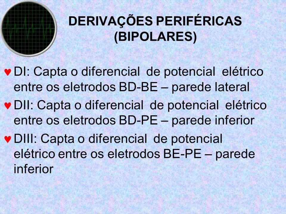 DERIVAÇÕES PERIFÉRICAS (BIPOLARES) DI: Capta o diferencial de potencial elétrico entre os eletrodos BD-BE – parede lateral DII: Capta o diferencial de