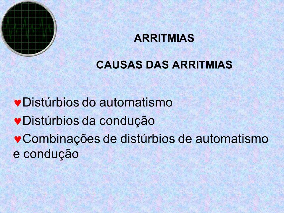 ARRITMIAS CAUSAS DAS ARRITMIAS Distúrbios do automatismo Distúrbios da condução Combinações de distúrbios de automatismo e condução