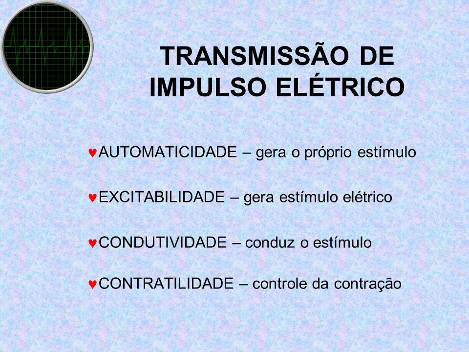 TRANSMISSÃO DE IMPULSO ELÉTRICO AUTOMATICIDADE – gera o próprio estímulo EXCITABILIDADE – gera estímulo elétrico CONDUTIVIDADE – conduz o estímulo CON