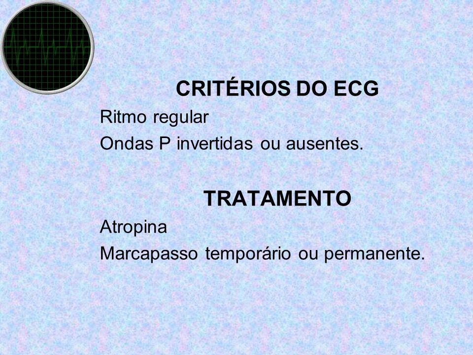 CRITÉRIOS DO ECG Ritmo regular Ondas P invertidas ou ausentes. TRATAMENTO Atropina Marcapasso temporário ou permanente.