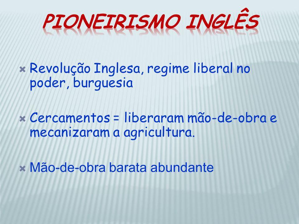 Revolução Inglesa, regime liberal no poder, burguesia Cercamentos = liberaram mão-de-obra e mecanizaram a agricultura. Mão-de-obra barata abundante
