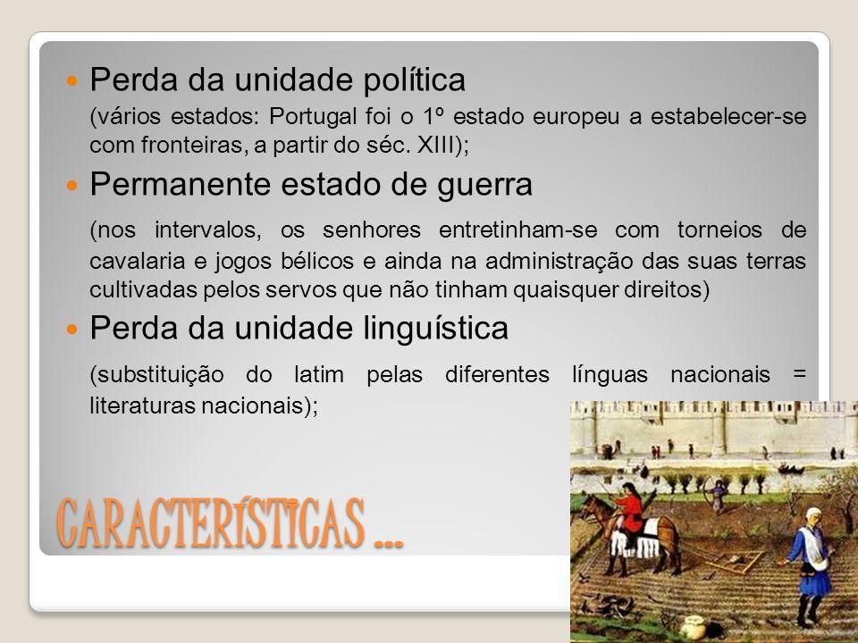 CARACTERÍSTICAS … Perda da unidade política (vários estados: Portugal foi o 1º estado europeu a estabelecer-se com fronteiras, a partir do séc.