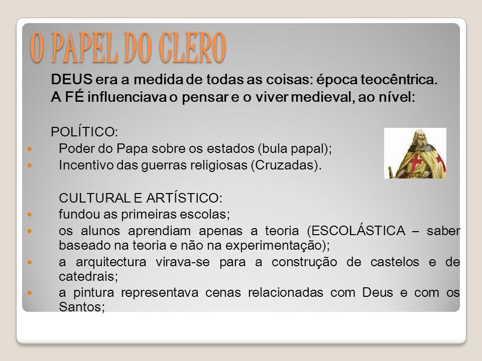 O PAPEL DO CLERO DEUS era a medida de todas as coisas: época teocêntrica.