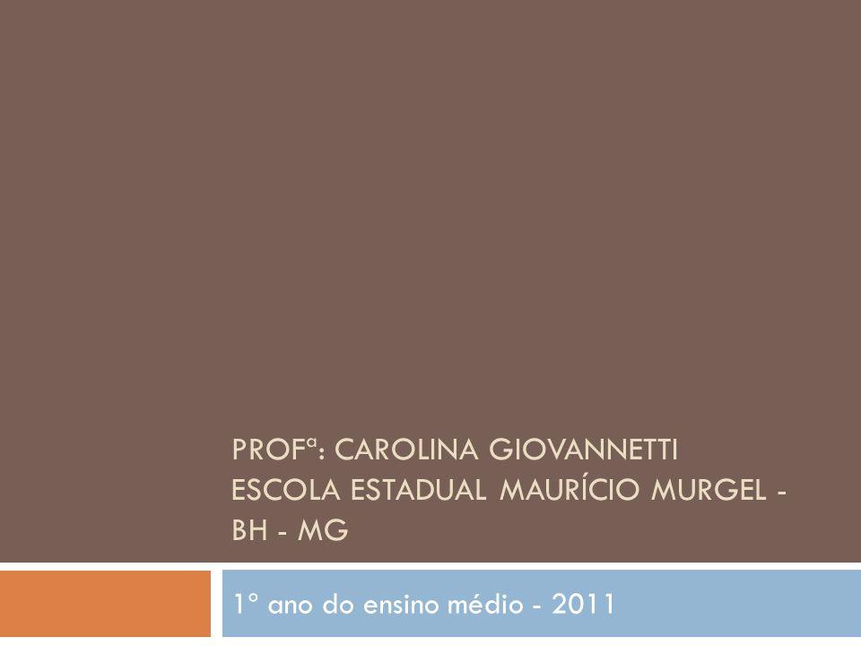 PROFª: CAROLINA GIOVANNETTI ESCOLA ESTADUAL MAURÍCIO MURGEL - BH - MG 1º ano do ensino médio - 2011