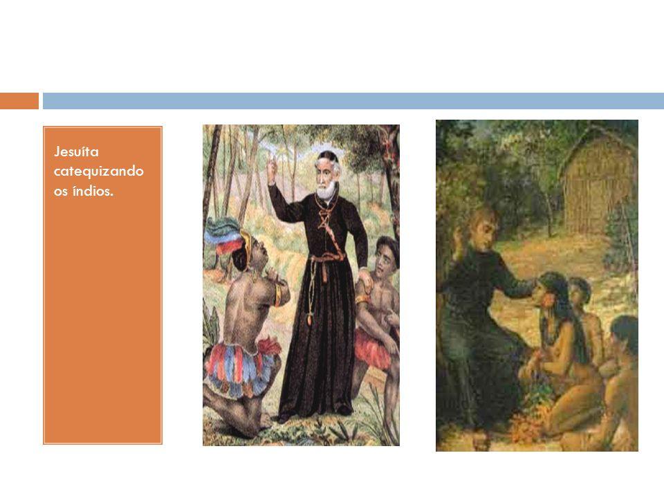 Jesuíta catequizando os índios.