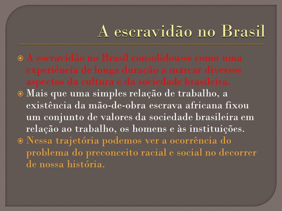 A escravidão no Brasil consolidou-se como uma experiência de longa duração a marcar diversos aspectos da cultura e da sociedade brasileira. Mais que u
