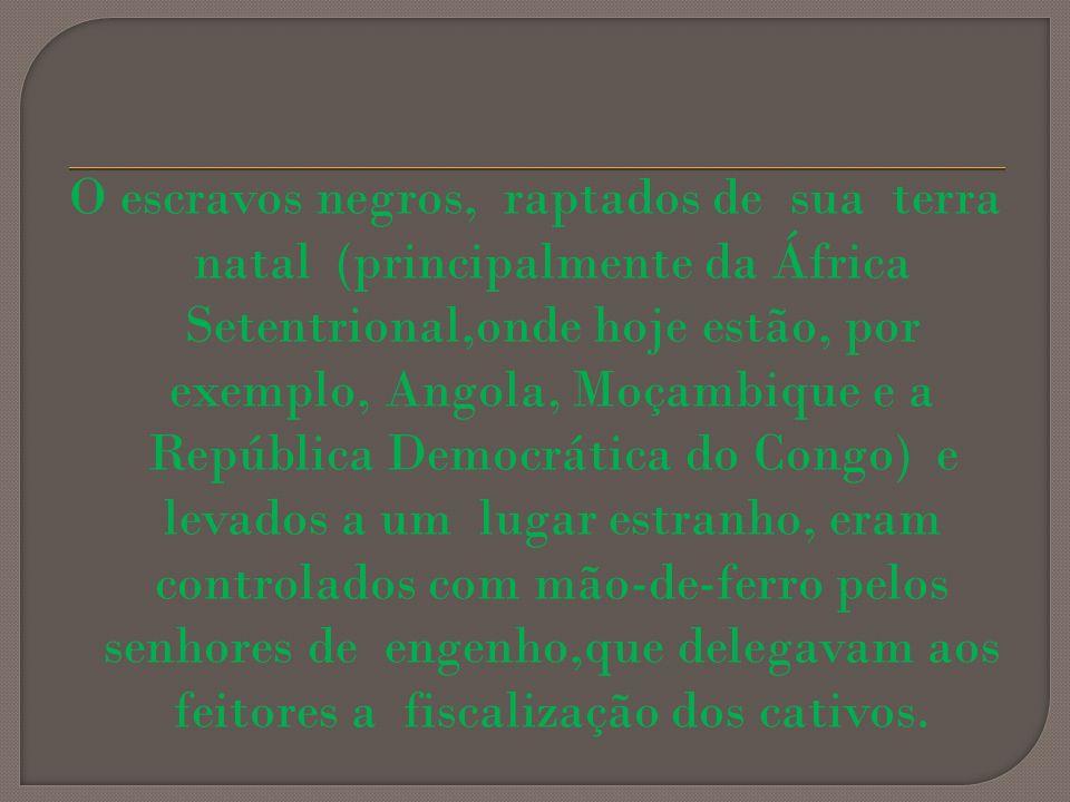 O escravos negros, raptados de sua terra natal (principalmente da África Setentrional,onde hoje estão, por exemplo, Angola, Moçambique e a República D