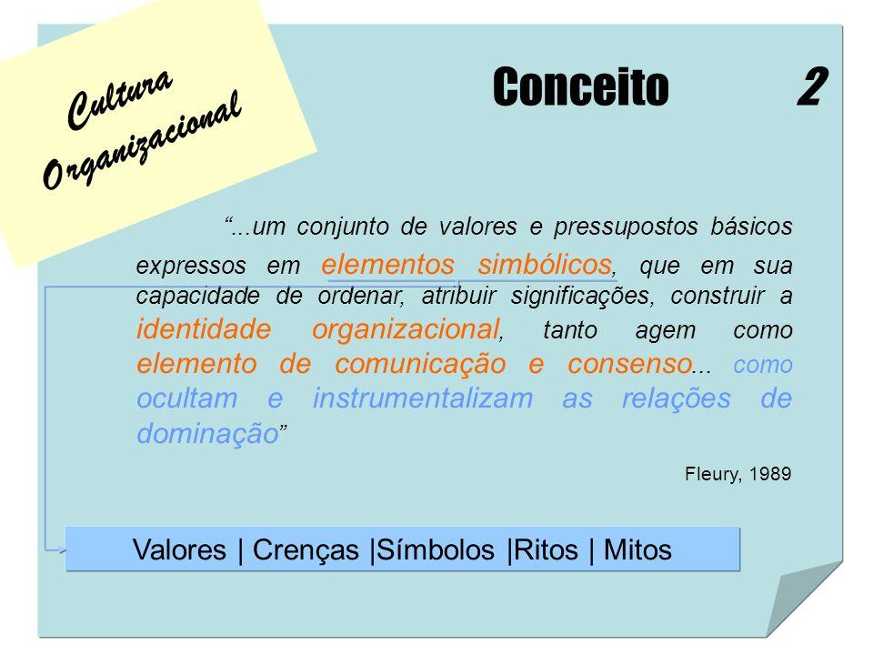 Cultura Organizacional Conceito...um conjunto de valores e pressupostos básicos expressos em elementos simbólicos, que em sua capacidade de ordenar, a