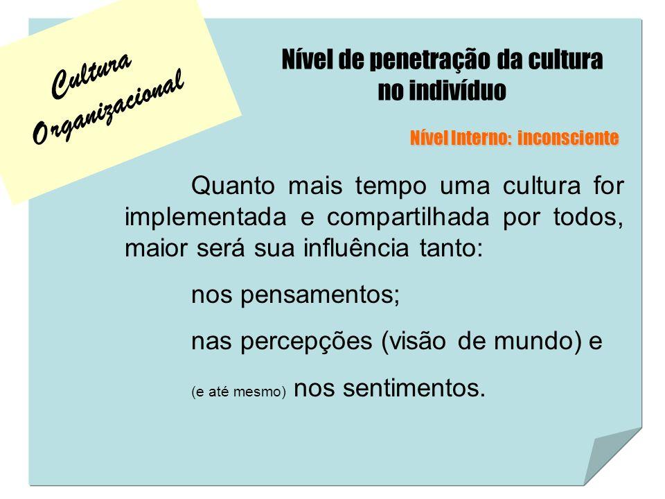 Cultura Organizacional Nível de penetração da cultura no indivíduo Quanto mais tempo uma cultura for implementada e compartilhada por todos, maior ser