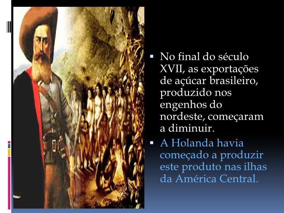 No final do século XVII, as exportações de açúcar brasileiro, produzido nos engenhos do nordeste, começaram a diminuir.