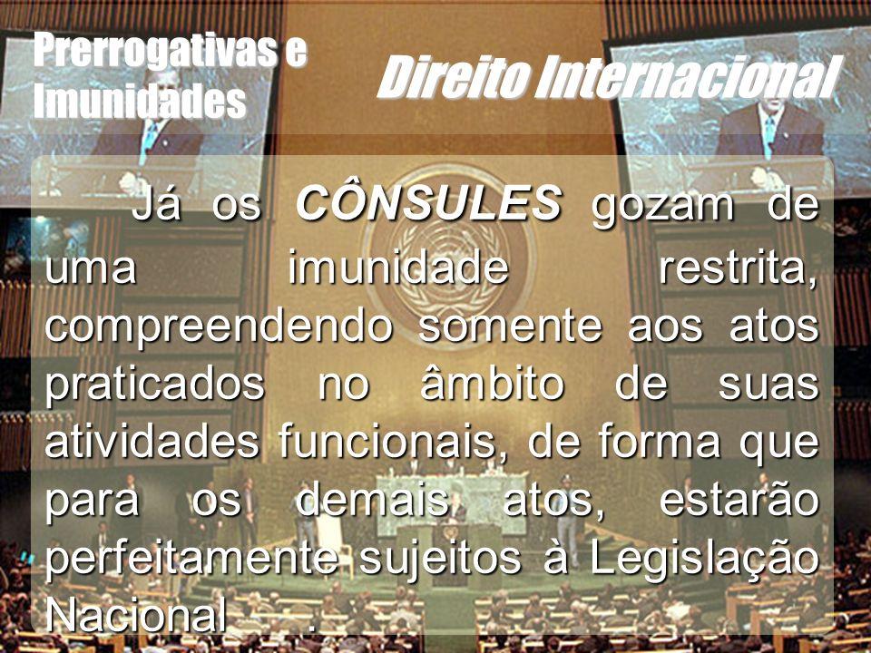 Wagner Soares de Lima Prerrogativas e Imunidades Direito Internacional Já os CÔNSULES gozam de uma imunidade restrita, compreendendo somente aos atos