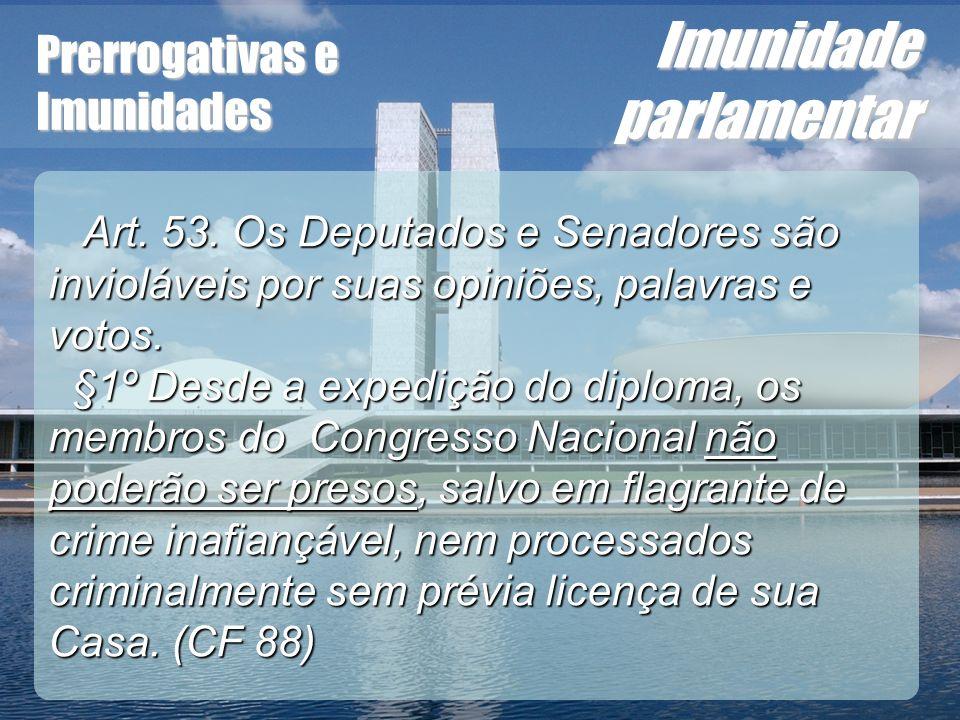 Wagner Soares de Lima Prerrogativas e Imunidades Imunidade parlamentar Art. 53. Os Deputados e Senadores são invioláveis por suas opiniões, palavras e