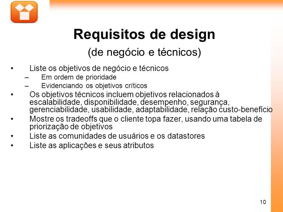 10 Requisitos de design (de negócio e técnicos) Liste os objetivos de negócio e técnicos –Em ordem de prioridade –Evidenciando os objetivos críticos O
